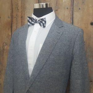 Stafford Sport Coat Mens 46L Linen Blend Gray